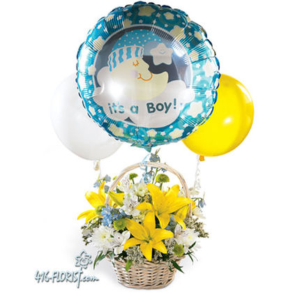 Baby Boy Arrangement With Balloons B1635 Flower Delivery Flower Shop