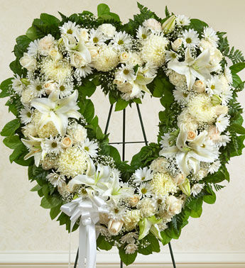Angelic All White Flowers Heart Wreath B2415 Flower Delivery